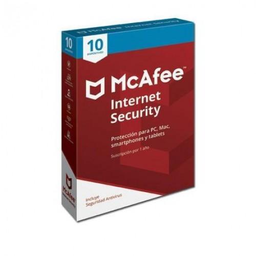 MCAFEE INTERNET SECURITY, 1 AÑO, PARA 10 DISPOSITIVOS