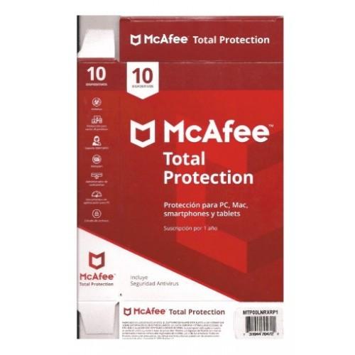 MCAFEE TOTAL PROTECTION, 1 AÑO, PARA 10 DISPOSITIVOS