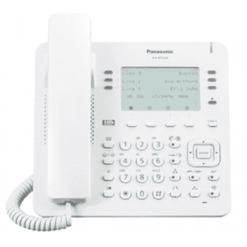 TELEFONO IP PROPIETARIO PANASONIC 6X4 BOTONES CO FLEXIBLES, 2 PUERTOS ETHERNET GB, POE. COMPATIBLE COMPATIBLE CON IP-PBX NS/NSX COLOR BLANCO.