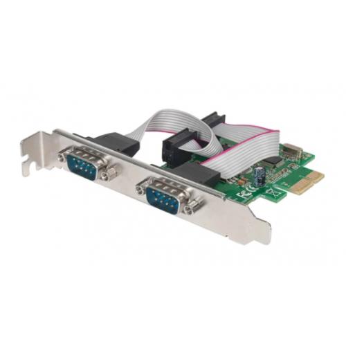 TARJETA SERIAL MANHATTAN PCI EXPRESS DOS PUERTOS DB9 PARA INSTALACION EN BUSES PCI EXPRESS X1 X4 X8 Y X16