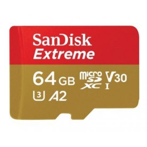 MEMORIA SANDISK EXTREME 64GB MICRO SDXC 160MB/S 4K CLASE 10 A2 V30 C/ADAPTADOR