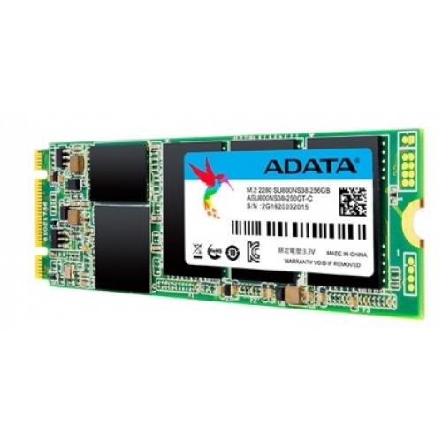 UNIDAD DE ESTADO SOLIDO SSD ADATA SU800NS38 256GB M.2 2280 CONTROLADOR SMI SATA3 6GB/S LECT.560/ESCR.520MBS PC