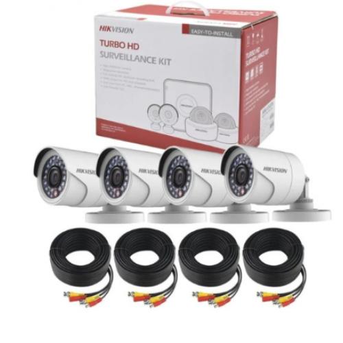 KIT DE CCTV HIK VISION / DVR 8CH / 4 CAMARAS TIPO BALA 1080P