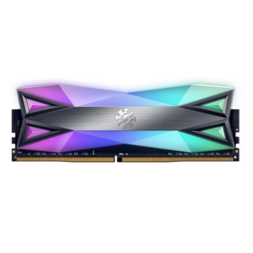 MEMORIA ADATA UDIMM DDR4 8GB PC4-28800 3600MHZ CL18 1.35V XPG SPECTRIX D60G RGB GRIS CON DISIPADOR PC/GAMER/ALTO RENDIMIENTO