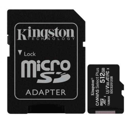 MEMORIA KINGSTON MICRO SD CANVAS SELECT PLUS 512GB UHS-I CLASE 10 C/ADAPTADOR