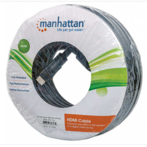 CABLE HDMI MANHATTAN 15.0M 4K 3D M-M VELOCIDAD 1.4 MONITOR TV PROYECTOR