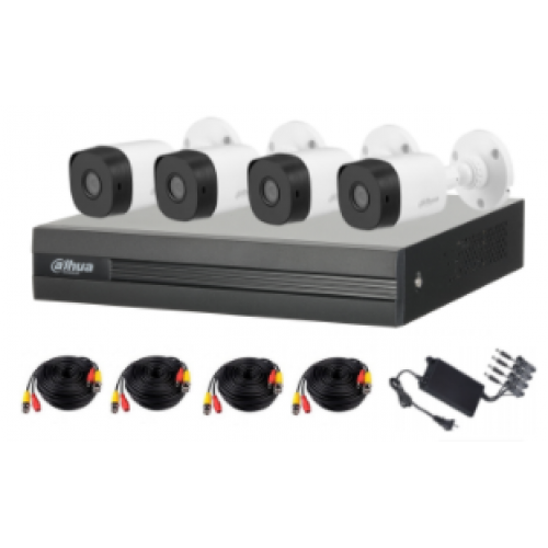 KIT DAHUE / 8 CANALES 2 MEGAPIXELES / 4 CAMARAS B1A21 1080P / DVR DE 8 CANALES 1080P LITE / H.265+ / 2 CH IP / IR 20M / IP67