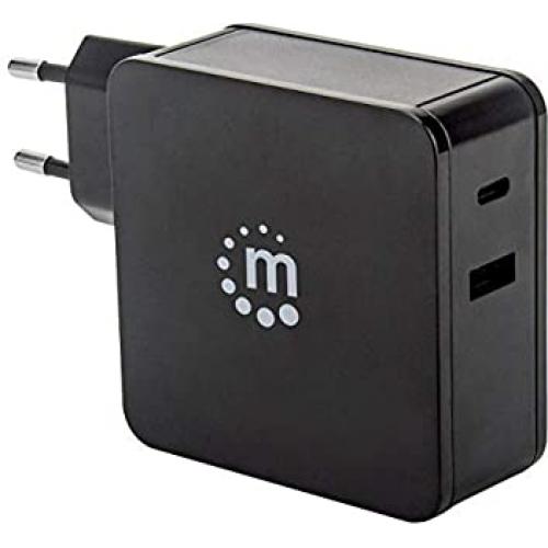 CARGADOR DE ENERGIA CON CONECTOR USB-C (HASTA 60 W) Y CON CONECTOR USB-A (HASTA 2.4 A) NEGRO