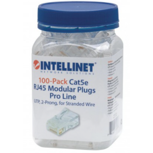 PLUG RJ45 CAT 5E INTELLINET UTP MULTIFILAR PRO 100 PZAS