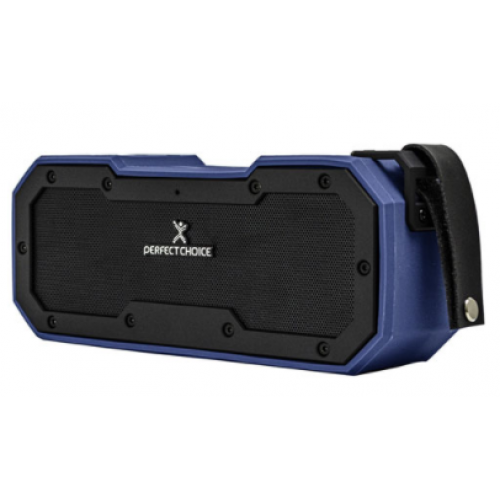 PERFECT CHOICE BOCINA PORTµTIL FORTE, BLUETOOTH, INALµMBRICO, 10W RMS, USB, NEGRO/AZUL – RESISTENTE AL AGUA PC-112945